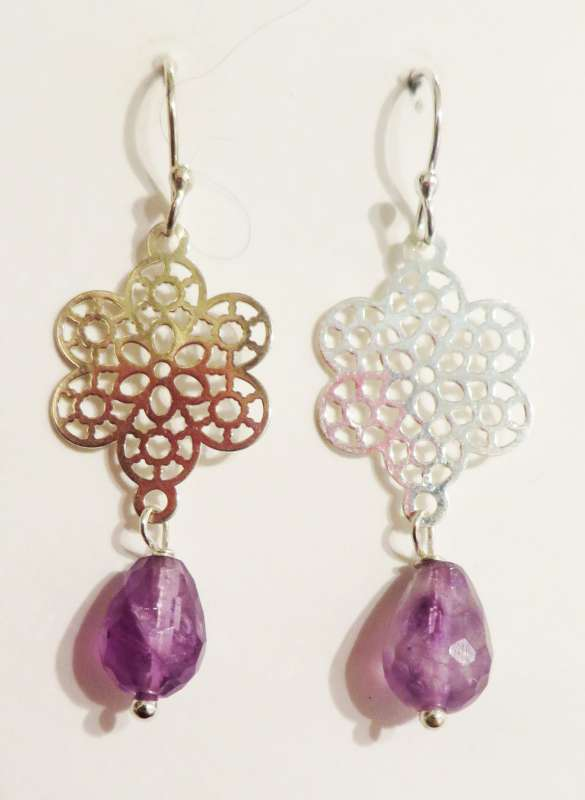 Silver mosaic drop earrings with amethyst