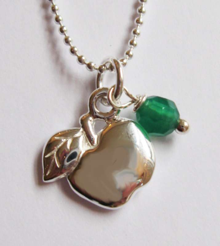 Silver pendant with apple charm with green jade