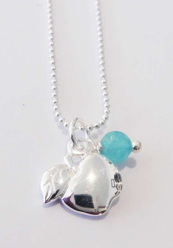 Silver necklace with apple charm and amazonite