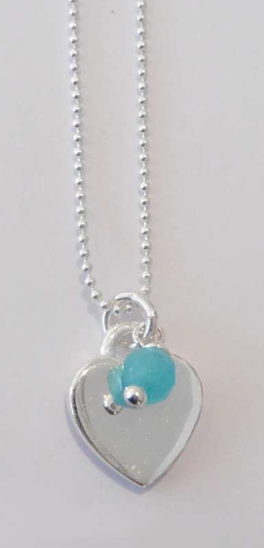 Silver necklace with heart charm and amazonite