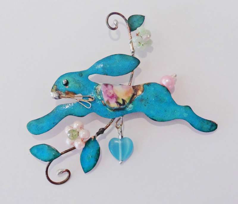 Hare Brooch with Heart