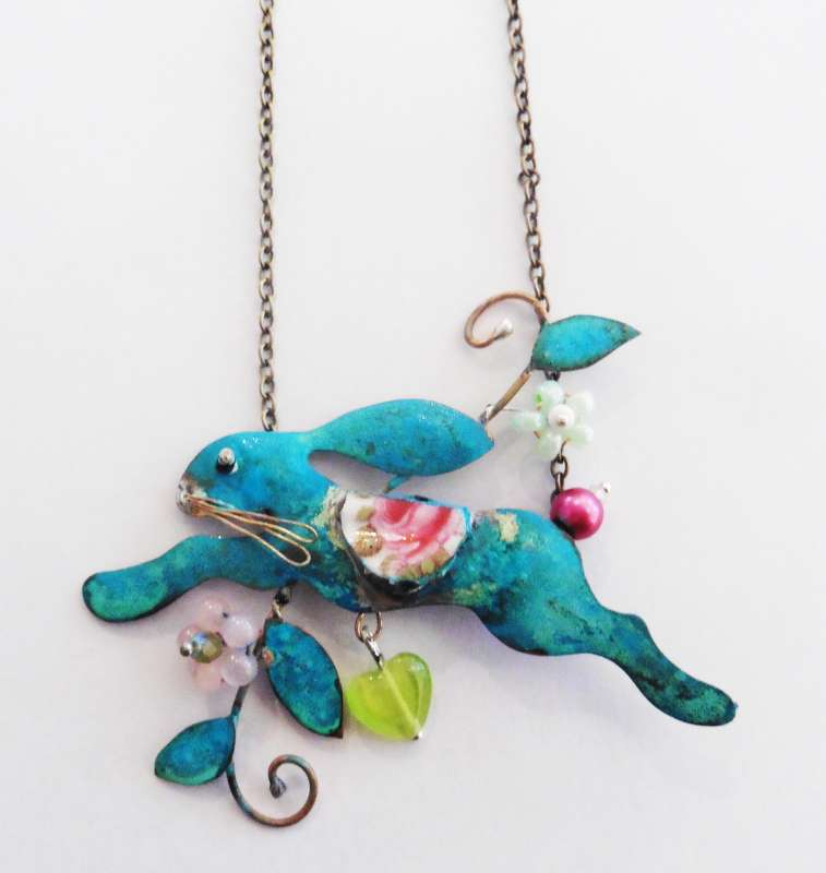 Large Hare with Heart Necklace