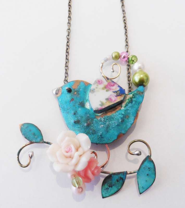 Large Bird with Flowers Necklace