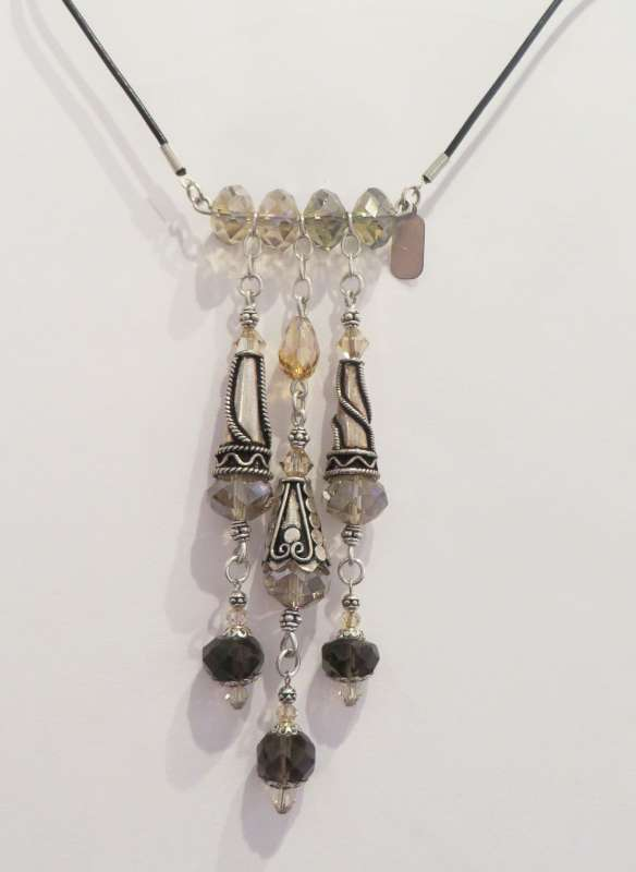 Smoky topaz, Swarovski and Chinese crystals and silver