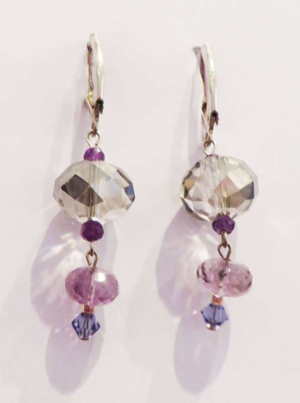 Amethyst and Swarovski crystal drop earrings