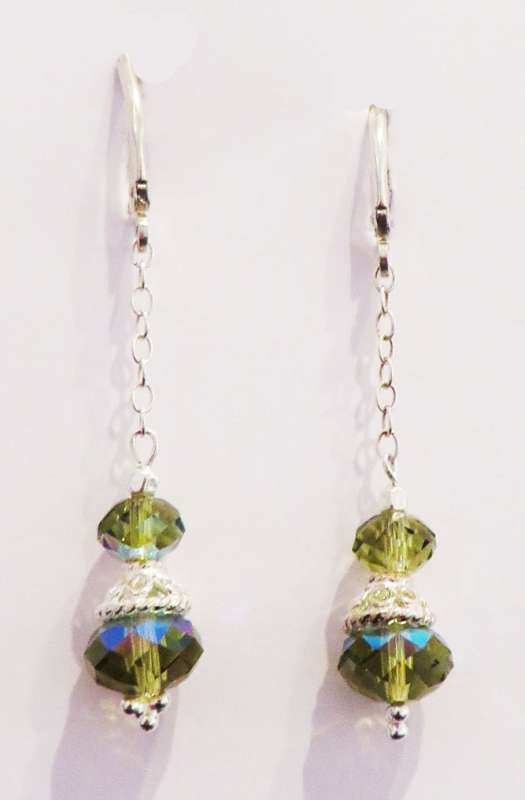 Green Swarovski crystal drop earrings