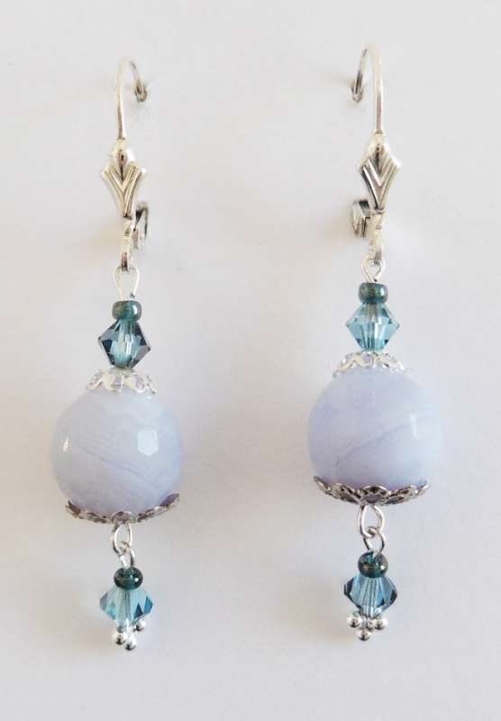 Blue lace agate and Swarovski crystal drop earrings