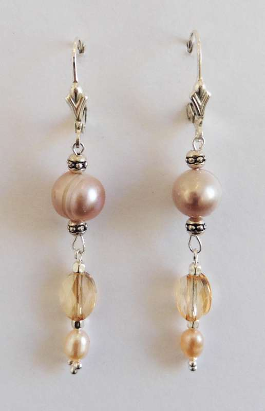 Pink pearl, Swarovski crystal and Chinese crystal drop earrings