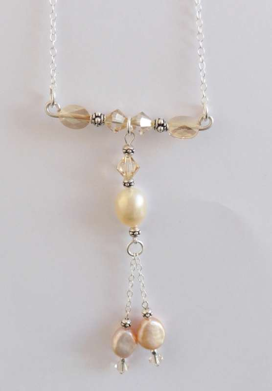 Pink pearl and Swarovski crystal pendant