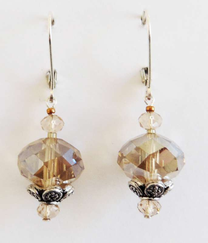 Smoky topaz and Chinese crystal drop earrings