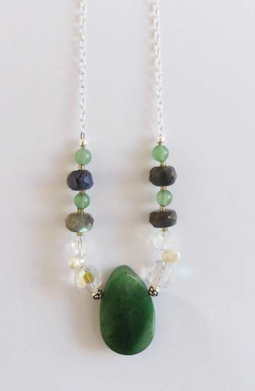 Jade, labradorite and Swarovski crystal necklace