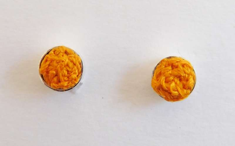 Orange stitched gem stud earrings