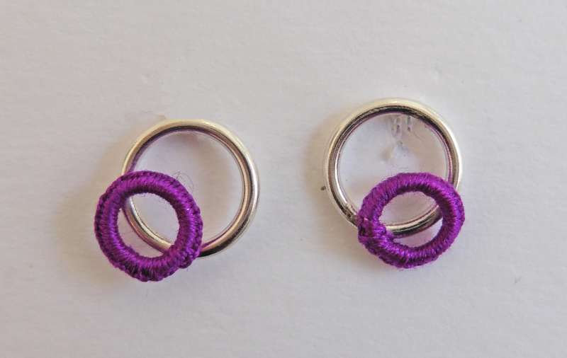 Dark purple circle stud earrings