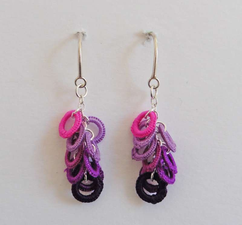 Pink/purple circle drop earrings