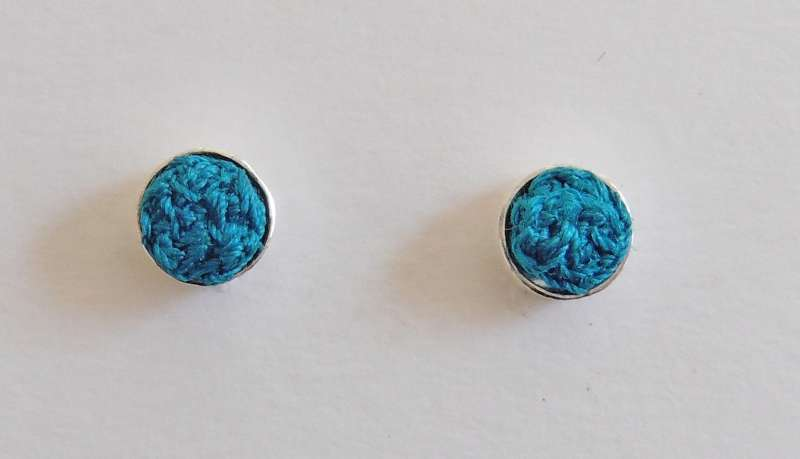 Turquoise stitched gem stud earrings