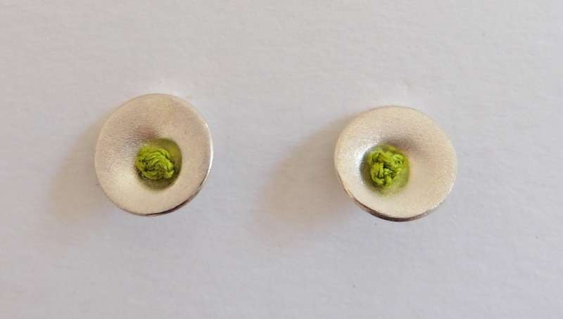 Green dot stud earrings