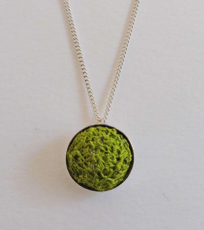 Green stitched gem pendant with 16-inch chain