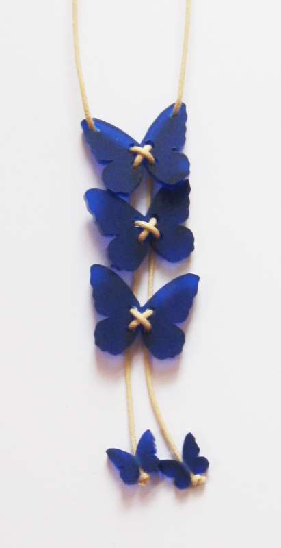 Butterfly Necklace - Frosted Dark Blue