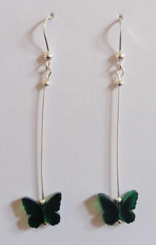Butterfly Drop Earrings - Frosted Dark Green