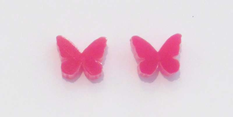 Butterfly Stud Earrings - Opaque Fuchsia