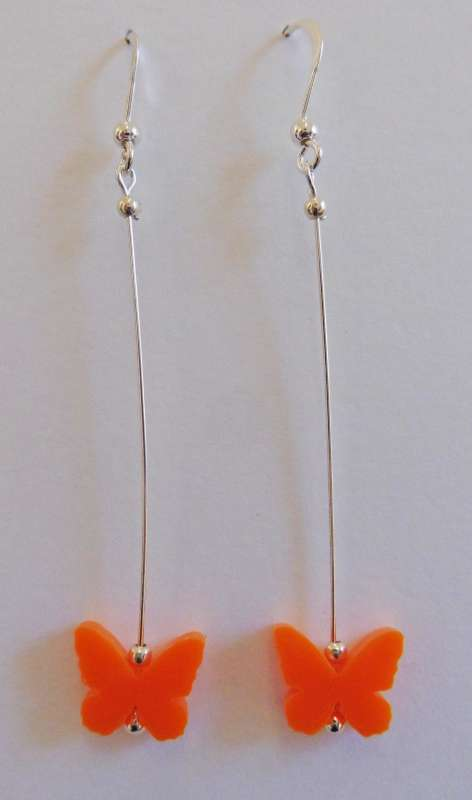 Butterfly Drop Earrings - Opaque Orange