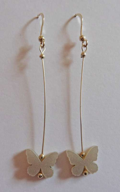 Butterfly Drop Earrings - Platinum Pearl