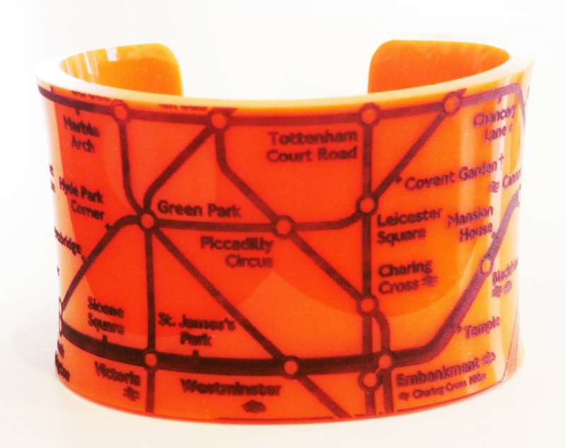 London Cuff - Black on Orange