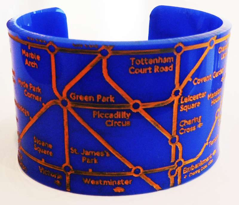 London Cuff - Orange on Blue