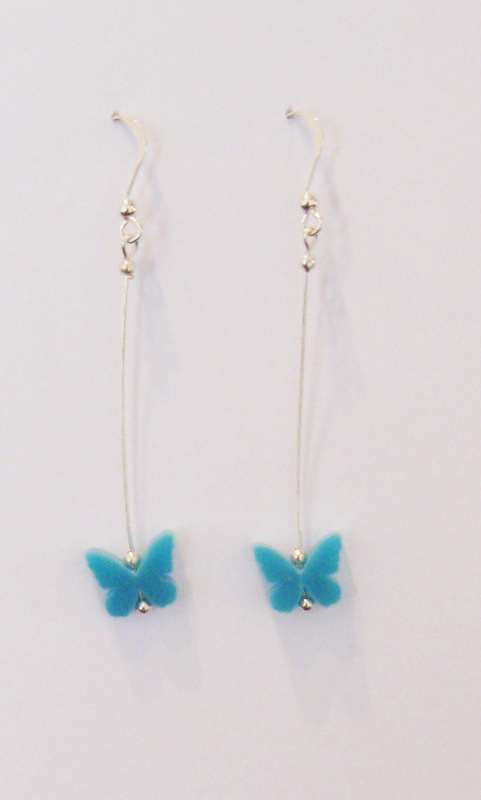 Butterfly Drop Earrings - Opaque Turquoise