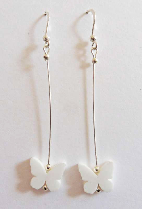Butterfly Drop Earrings - White