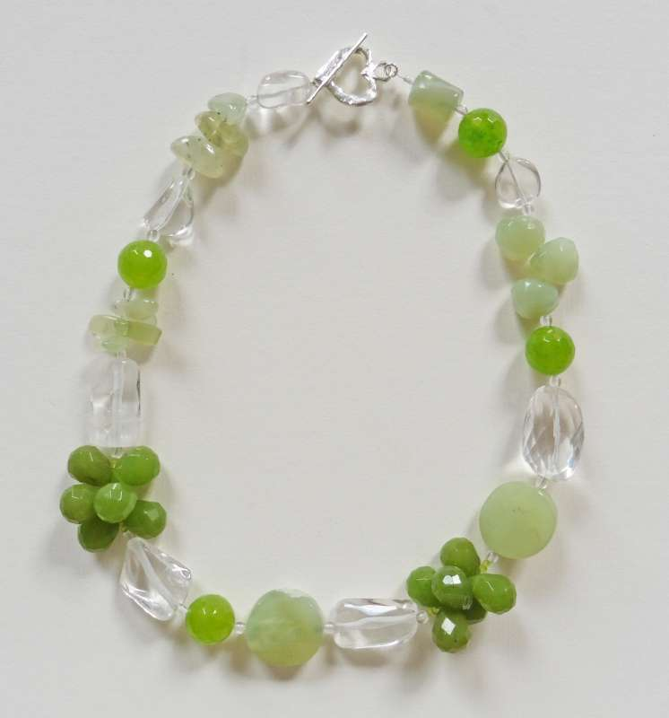 Jade and crystal necklace