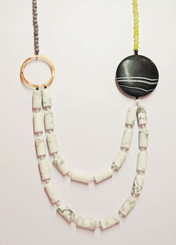 Black stripe agate and howlite two-strand necklace