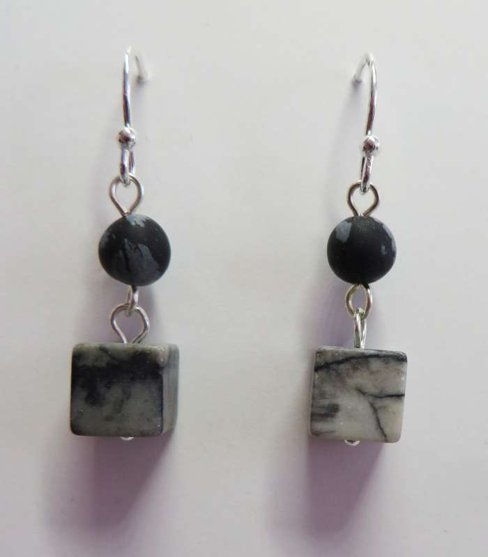 Grey square Picasso stone drop earrings
