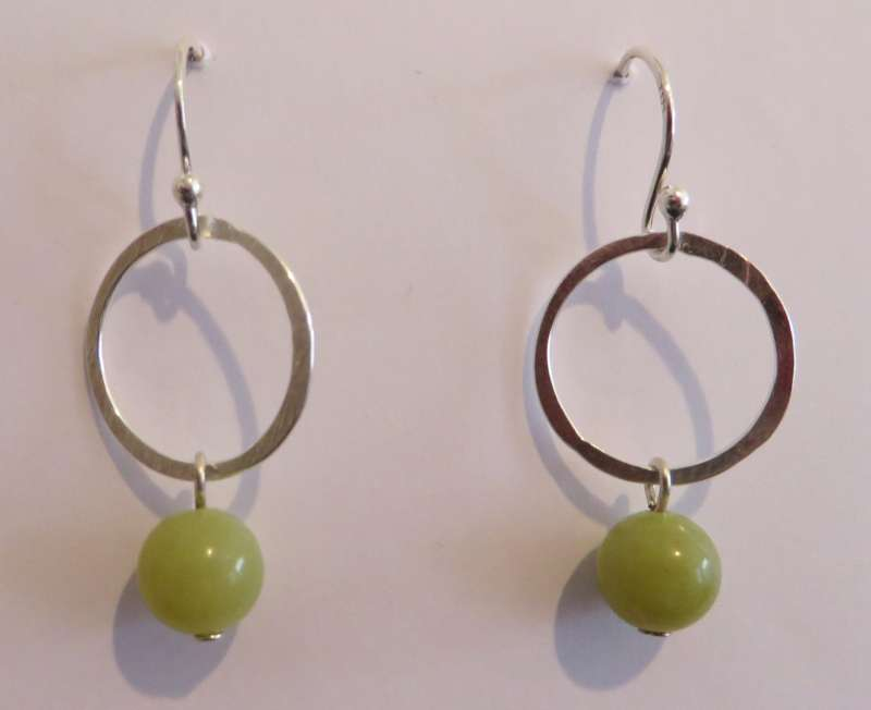 Olive jade drop earrings
