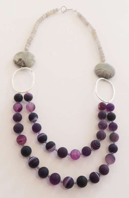 Purple agate, picasso jasper and grey cracked agate necklace