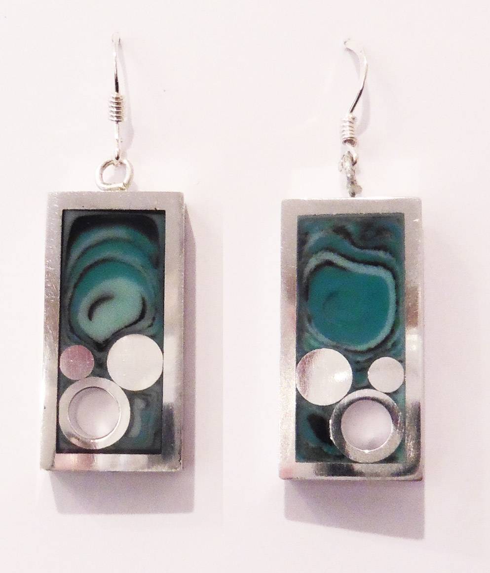 Rectangular lagoon earrings