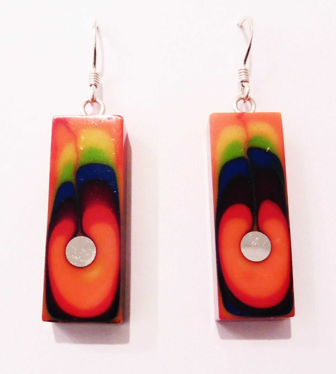 Rectangular rainbow earrings