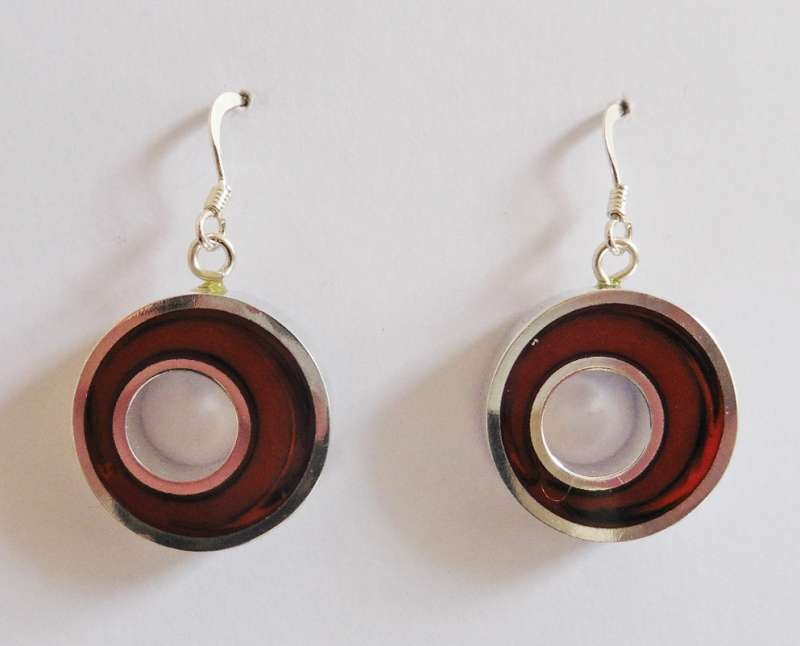 Round cranberry earrings