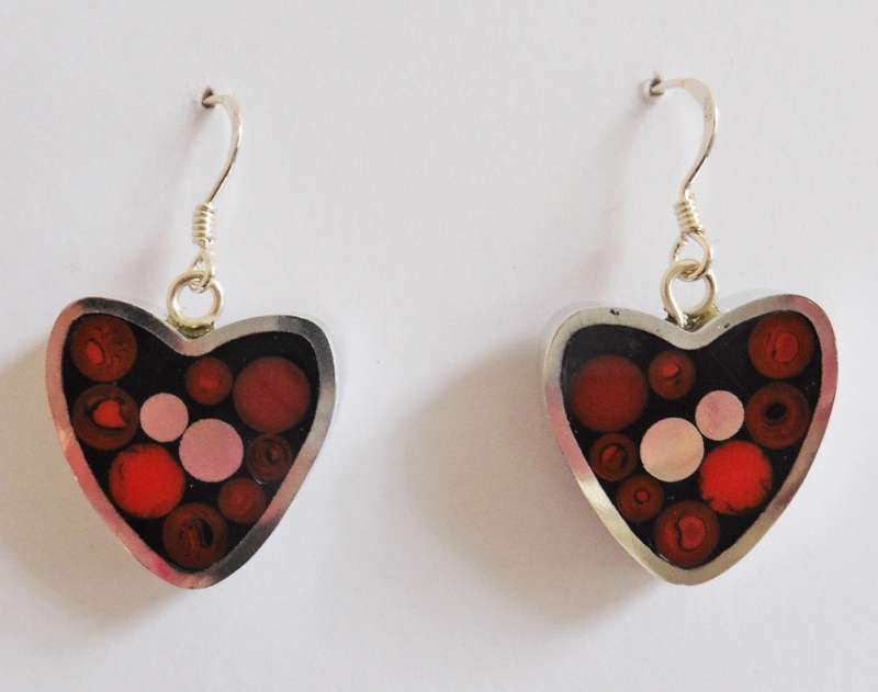 Heart cranberry earrings