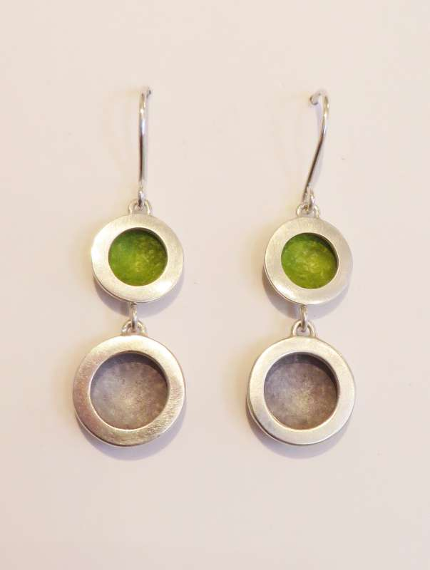 Silver double circle lime green/grey drop earrings