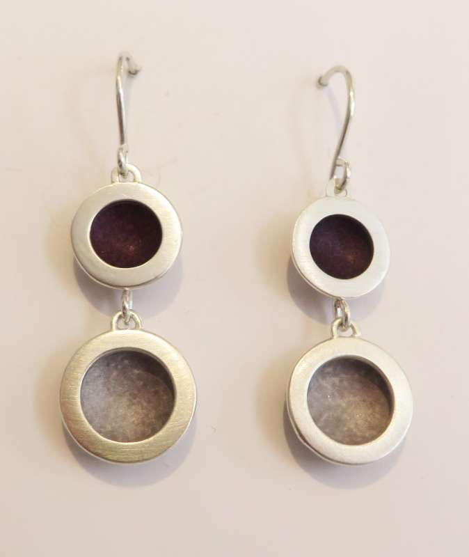 Silver double circle berry/grey drop earrings