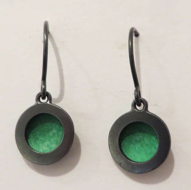 Oxidised silver and green circle drop earrings
