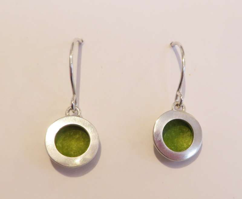 Silver and lime green circle drop earrings