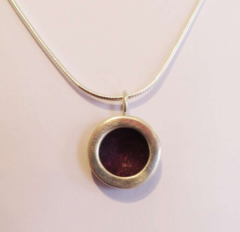 Silver and berry circle necklace