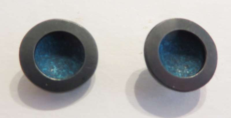 Oxidised silver and blue circle stud earrings