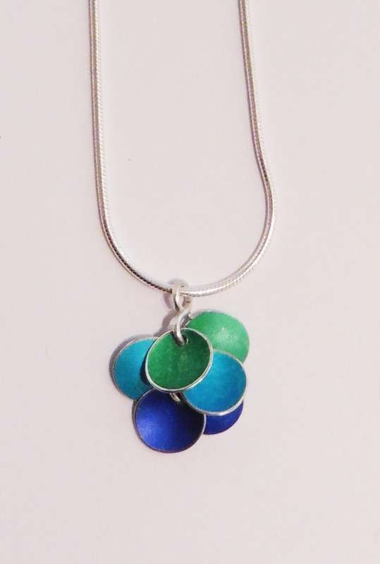 Blue and green disc cluster necklace
