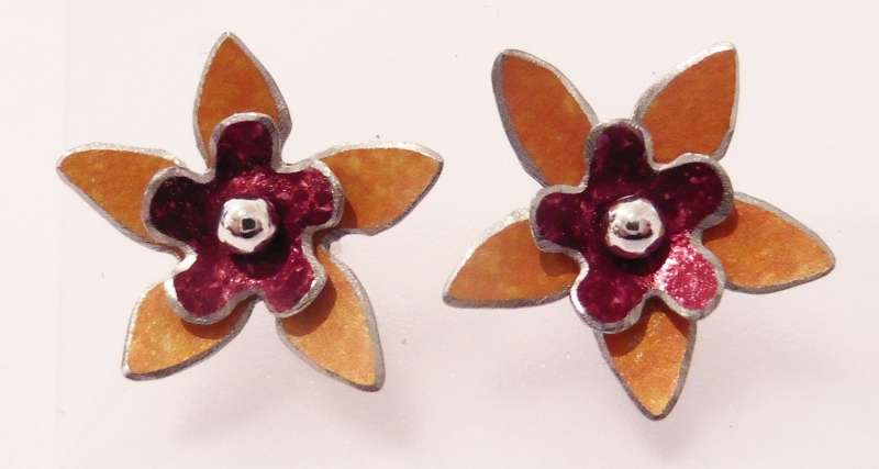 Orange and burgundy double flower stud earrings