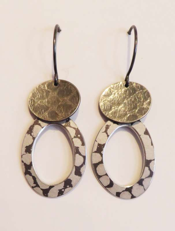Textured silver and white spotty hoop drop earrings
