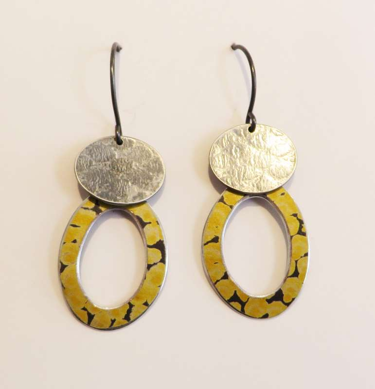 Textured silver and yellow spotty hoop drop earrings