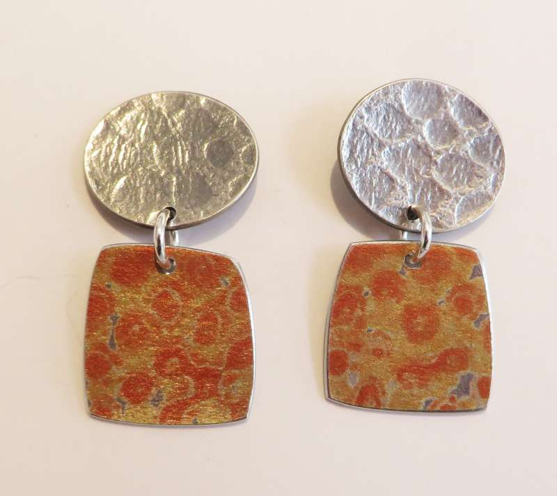 Textured silver and orange spotty square drop earrings